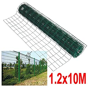 Outdoortips Green PVC Coated Welded Mesh Fencing Wire Garden Rabbit Chicken F