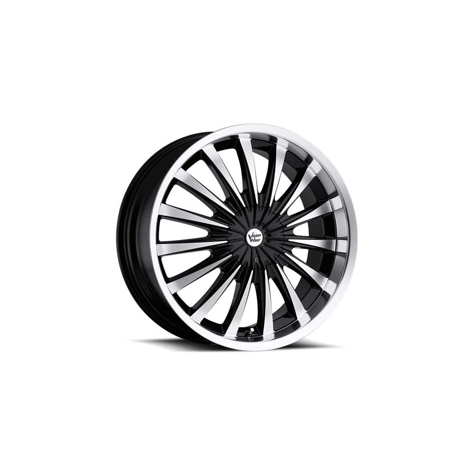 Vision Shattered 18 Machined Black Wheel / Rim 5x4.5 & 5x4.75 with a 38mm Offset and a 74.1 Hub Bore. Partnumber 454 8704MF38