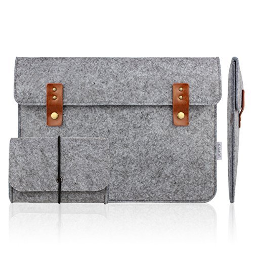 Kamor® 13 13.3 inch Apple MacBook Air MacBook Pro Felt Laptop Case with Extra MacBook Charger Case (Vintage Style, Light Gray) Protective Carrying Sleeve Bag Case Cover Shell (Light Gray)