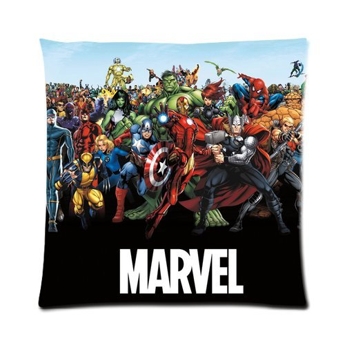 Generic Custom Captain America Marvel Cool Design Printed Zippered Pillowcase Cushion Case 16*16(Two Sides) front-1004122