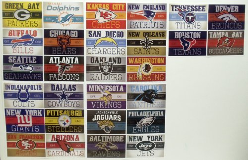 NFL FOOTBALL STICKERS - NFL Football Team Decal Birthday Party Favor Sticker Set Consisting of 28 Team Stickers Featuring Green Bay Packers, Miami Dolphins, Tennessee Titans, Denver Broncos, Houston Texans, Tampa Bay Buccaneers, Buffalo Bills, Chicago Bears, Seattle Seahawks, Atlanta Falcons, Minnesota Vikings, Carolina Panthers, Jacksonville Jaguars, Philadelphia Eagles, Baltimore Ravens, New Yor at Amazon.com
