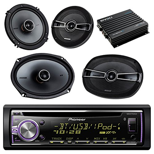 Pioneer DEHX6800BT Bluetooth Car CD Receiver Bundle Combo With 2 Kicker 41KSC654 6.5 inch 2-Way Stereo Speakers + 2 Kicker 41KSC694 6x9