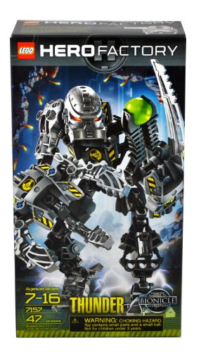 Lego Hero Factory Series Villain Character Figure Set # 7157 - THUNDER with Meteor Blaster and Powerful Crush Claw (Total Pieces: 47)