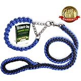 Olivery(TM) Martingale Braided Collar with Solid Hand Made Leash - Ideal for Agility Obedience Behavior Training and Everyday Walk - Free eBook - Lifetime Quality Warranty