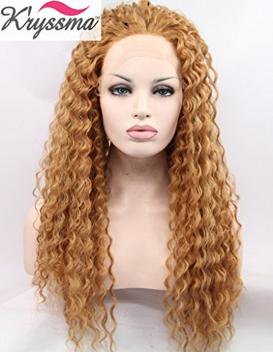 K'ryssma Christmas Blonde Curly Realistic Wigs for White Women Natural Looking Synthetic Glueless Lace Front Wig Half Hand Tied Heat Friendly 24 inches