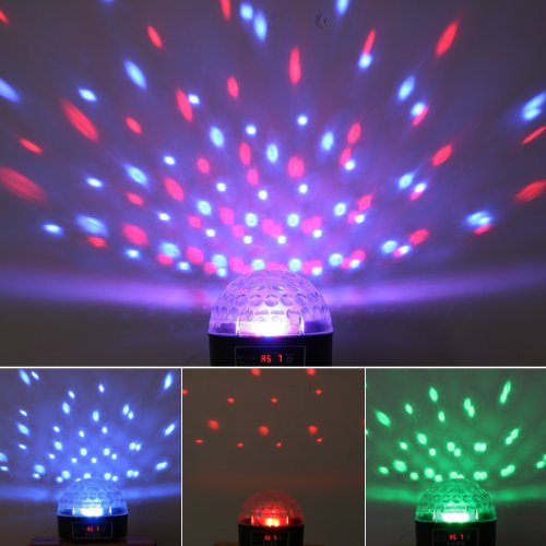 Kkmoon Mini Led Rgb Crystal Magic Ball Effect Light Dmx Disco Dj Stage Lighting For Home Party, Bar,Club,Holiday,Show,Karaoke,Christmas(Multi Changing Color)