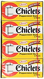 Chiclets Adams the Original Candy Coated Gum Peppermint Flavor - 1 Box With 20 Packs Of 12 Pieces Each