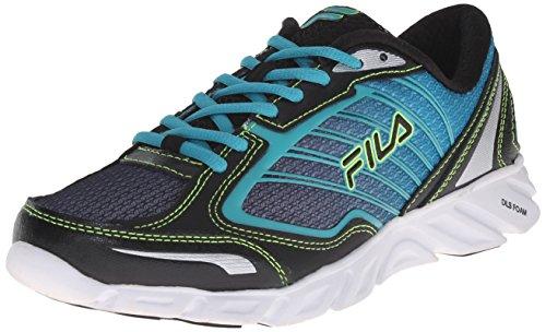 Fila Women's Fresh 3 Running Shoe, Black/Baltic/Safety Yellow, 8.5 M US
