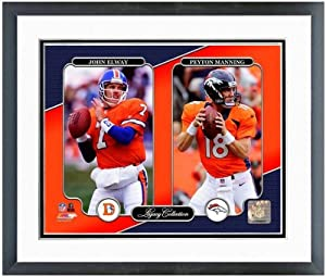 Peyton Manning John Elway Denver Broncos NFL Legacy Photo 12.5 x 15.5 Framed by NFL
