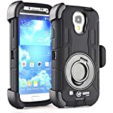 S4 Case,Shockproof S4 Case,Military Shockproof Protective Case and Holster for Samsung Galaxy S4 - Extremly Protective Dual layer Case with 360 Degrees Swivel Ring Kickstand and Rugged Face- in and out Holster (Black)