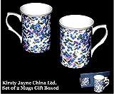 Kirsty Jayne China- 10Fl oz Bone China FORGET ME NOT CHINTZ set of 2 Beakers, Mugs- Gift boxed (B13)