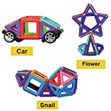 Magnetic Building Blocks 76 Pieces Let Your Kid Learn Colors and Shapes through Play Instruction Booklet and Storage Bag Included Creative and Educational Gift for Kids