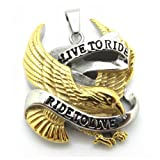 51uvtxGJ sL. SL160  Cool Mens 18k Gold Eagle Pendant 316l Stainless Steel Biker Motorcycle Pendant Chain Necklace