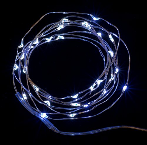 Sharpet 6ft Battery Operated Pure White Indoor Outdoor String Lights; 30 Tiny White LED Lights on a 1.8M Flexible Silver coated Copper Wire, for the Holidays, Christmas, and Weddings