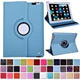 HDE 360° Rotating Leather Folio Case and Stand with Sleep/Wake Feature for iPad 2/3/4 (Sky Blue)