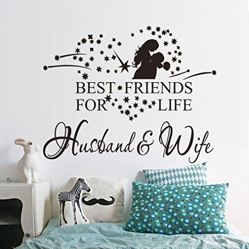 Ussore Husband And Wife Vinyl Decal Bedroom Wall Art Decor For Kids Home Living Room House Bedroom Bathroom Kitchen Office Home Decoration