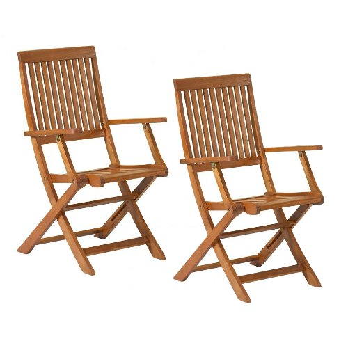 Sienna Folding Armchairs - Garden Furniture - PACK OF 2 (Price for 2 chairs) - UK Mainland Delivery ONLY
