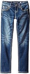 Miss Me Big Girls\' Skinny Jeans, Medium Dark, 12