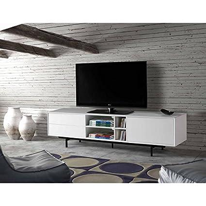 AMUEBLALO - Mueble TV 1 puerta 2 cajones Bea - Blanco, 180x40x50, Dm lacado / metal
