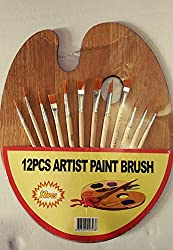 KABEER ART Artists oval wooden painting palette with 12 quality paint brushes