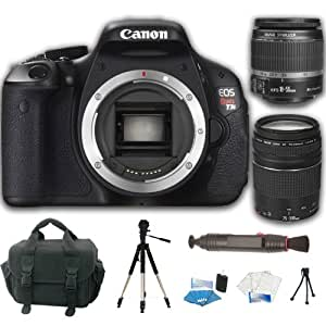 Canon EOS Rebel T3i 18 MP CMOS Digital SLR Camera and DIGIC 4 Imaging with EF-S 18-55mm f/3.5-5.6 IS Autofocus Lens + EF 75-300mm f/4.0-5.6 III Autofocus Lens + Deluxe Accessory Kit