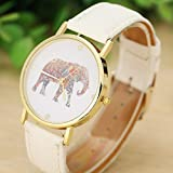 Tenworld Women Lady Girl Gift Analog Quartz Faux Leather Wrist Watch (Elephant)