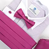 Magenta Silkpre-tied Bow Ties and Cummerbund for Men Handkerchiefs Cufflinks with Gift Box Cm1006  Pink