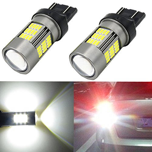 Alla Lighting Super Bright 7440 7443 T20 Newest Version 4014 54-SMD 6000K Xenon White LED Lights Bulbs for Auto Back-Up Reverse Lights Lamp Replacement (7440 7443) (7440 Spark Plug compare prices)