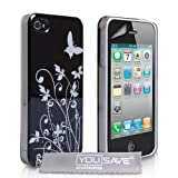 Yousave Accessories TM Designer Black And Silver Butterfly Flower Hard Hybrid IMD Case Cover And Screen Protector For The Apple iPhone 4 / 4S Siri phones