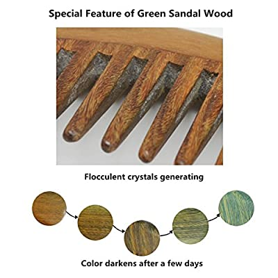 Meta-C Natural Green Sandal Wood Handmade Comb with Special Thickening Handle
