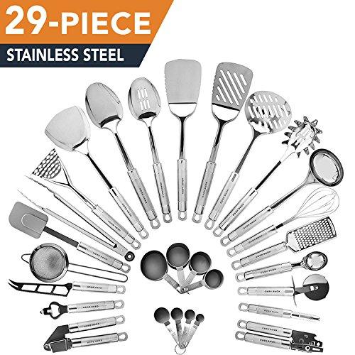 Kitchen Utensils Set | 29-Piece stainless-steel | Premium Cooking Gadgets by HomeHero (Stainless Steel Kitchen Utensils compare prices)