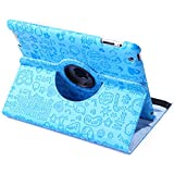 HDE 360° Rotating Leather Folio Case and Stand with Sleep/Wake Feature for iPad 2/3/4 (Blue Cartoon)