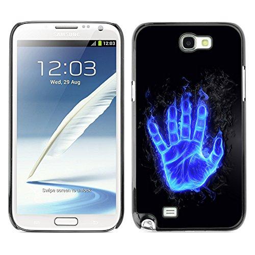 DesignCase Premium Slim PC / Aluminium Combo Schutz Hülle Tasche Slim Case Cover Armor - Flaming Blue Hand - Samsung Note 2