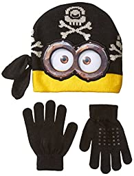 Despicable Me Little Boys\' Pirate Minion Beanie and Glove Set, Multi, One Size