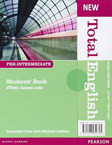 New Total English Pre-intermediate Etext Students' Book Access Card