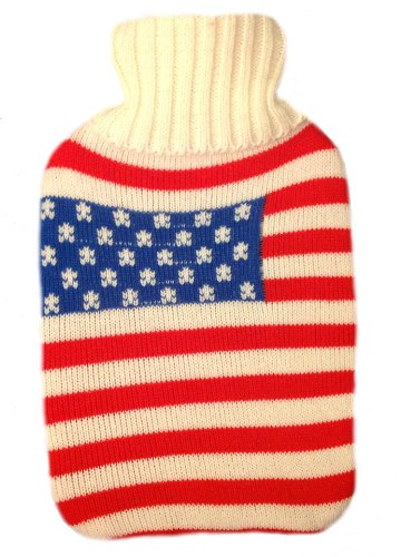 Warm Tradition American Flag Knit Covered Hot Water Bottle - Bottle Made In Germany