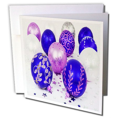 Yves Creations Christmas Decorations - Blue and Purple Christmas Baubles - 1 Greeting Card with envelope (gc_36870_5)