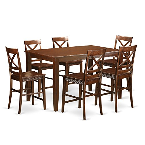 East west furniture duqu7h mah w 7 piece high top table for Table 6 kitchen and bar