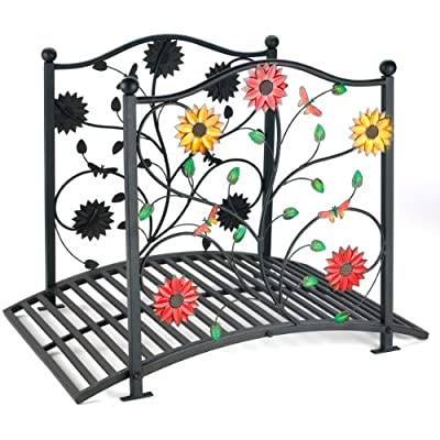 Metal Garden Bridge with Floral Decoration OGD091