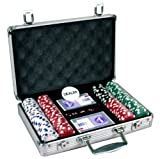 New 200 11.5 gram Dice Poker Chips Set w/Aluminum Case, Dealer Button, 2 Decks of Cards & 5 Dice