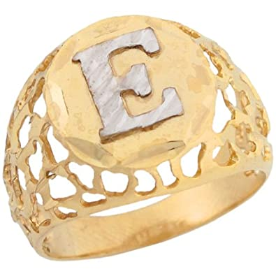14ct Two Colour Gold Filigree Diamond Cut Letter E Bold Mens Initial Ring