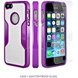 iPhone 5s Case, Purple - *Bonus Glass* Rugged Protection, Thin and Lightweight, Includes Tempered Glass Screen Protector, Professional Camera Hood, Stunning Colors Including Saffron Purple SaharaCase