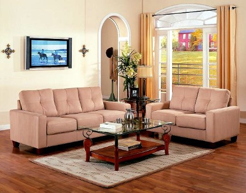 Buy Low Price Poundex 2pcs Contemporary Style Beige Fabric Sofa and Loveseat (VF_LIVSET-F7572)