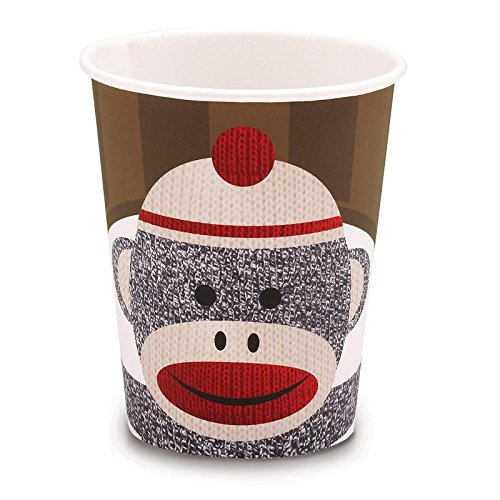 Sock Monkey Red 9 oz. Paper Cups (8)