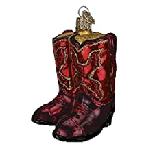 Old World Christmas Red Cowboy Boots Glass Ornament