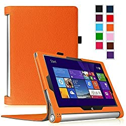 Fintie Lenovo Yoga Tablet 2 10 Folio Case Cover with Auto Sleep / Wake Feature (Fit Lenovo Yoga Tablet 2 10-Inch Android and Windows Version), Orange