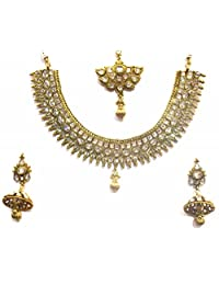Shingar Jewellery Ksvk Jewels Antique Gold Plated Polki Kundan Necklace Set For Women (9254-as)