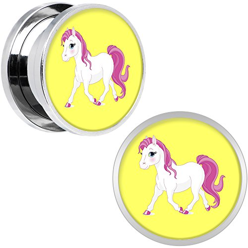 Body Candy Stainless Steel Blushing Pink White Pony Screw Fit Double Flare Plug Pair 5/8