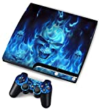 TQS⢠Designer Skin for Sony PS3 Slim Console System Plus Two(2) Decals For: Playstation 3 Dualshock Controller - Skull of Blue Fire