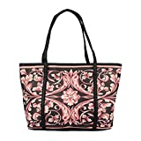 The Peacock Craft Womens Hand Bag floral tote (black)